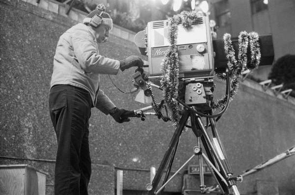 CHRISTMAS AT ROCKEFELLER CENTER -- 1976 -- Pictured: A cameraman records the Christmas tree lighting ceremony at Rockefeller Center -- Photo by: NBCU Photo Bank