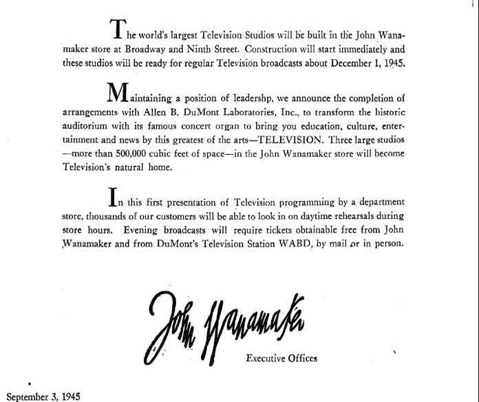 TeleTales #2…1945, Dumont To Open New TV Studios – Eyes Of A